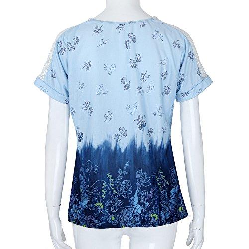 Fluide Bleu Taille Shirt T Femme Sweat Grande Manche Tee Kangrunmy Shirt T Shirt Ete Courte Marine Haut Tee Sweat Chic Shirt Crop Shirt Casual D Rose Top pYgxU