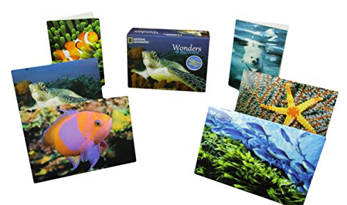"""National Geographic Blank Inside Note Cards w/ Envelopes """"Wonders of the Ocean"""" 12 Cards, 13 Envelopes & a National Geographic Keepsake Box Included! Thank You Cards, Stationery Cards - 3.5"""" x 5"""""""