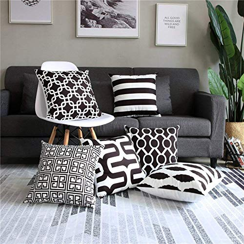 Modern Homes 100% Cotton Black and White Decorative Throw Pillow Covers Cushion Cases 16 x 16 inch (Black & White, Set of 6)
