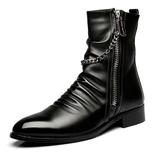 pour DHFUD Hommes Black Bottes Hommes Glissière Bottes Britanniques à Tube Tip Haut Bottes Hommes Printemps Les Martin Chaussures Dans xxnUqz1r