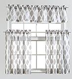 Mysky Home Fashion 3 Pieces Jacquard Kitchen Sheer Tier Curtains and Valance Set, Grey