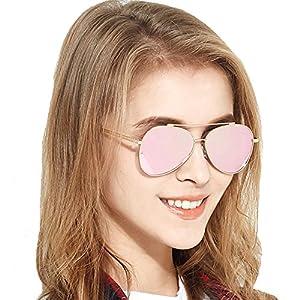 BLUEKIKI YEUX Aviator Women Sunglasses Polarized Fashion Metal Frame Design(Gold)