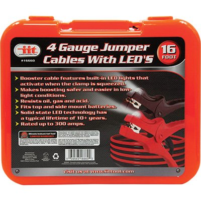 IIT 16660 4 Gauge Jumper Cables With LED's, 16""