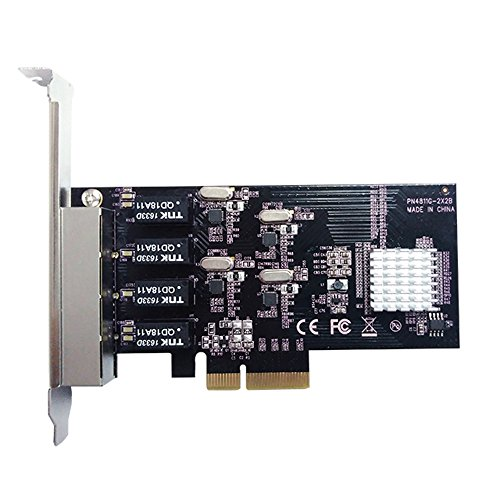 Vantec 4-Port PCIe Gigabit Ethernet Network Card with Low Profile Bracket 9K Jumbo Frame for PCIe x4/x8/x16 Slot Black/Silver (UGT-PC100GNA) by Vantec (Image #2)