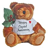 JustPaperRoses ® Happy 15th Anniversary Teddy Bear with Crystal Rose Gift, Just Paper Roses