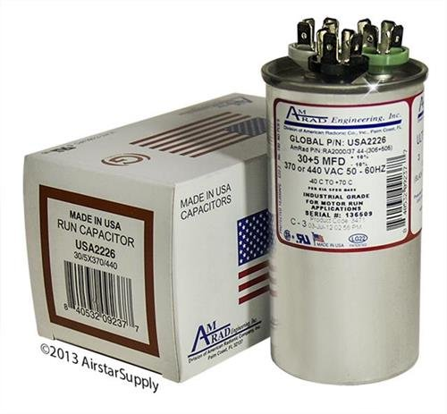 (2) Pack - Janitrol B9457-8700 - 30 + 5 uf MFD 370 / 440 Volt VAC Amrad Replacement Round Dual Run Capacitor - Made in the U.S.A. ()