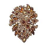 Yilanair Wedding Multicolor Diamond Rhinestone Crystal Flower Wedding Brooch Pin For Women (Orange)