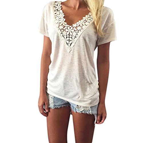 Kwok Women's Summer Vest Top Short Sleeve Blouse Casual Tank Tops T-Shirt Lace (XXL)