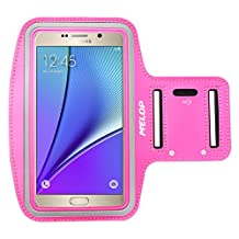 """MELOP Armband (5.7"""") for Samsung Galaxy Note 5 Note 4 Note 3 Note II Note Edge, J3 J3V J7, LG K7 K10 G5 SE, Soft Sweat Resistant Sports Gym Arm Band with Key Holder and Card / Cash Pocket - Rosered"""