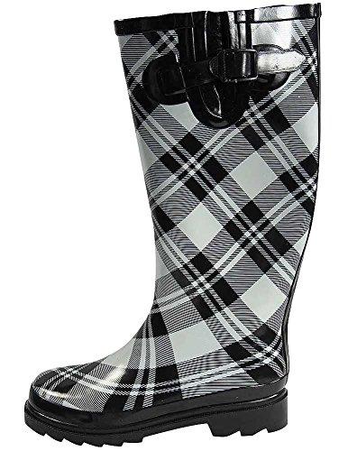 Rainboots Womens Sunville Black R1412 Plaid Fashion O60Cw