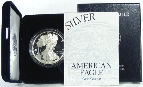 (1995 Proof American Silver Eagle Dollar with Original)