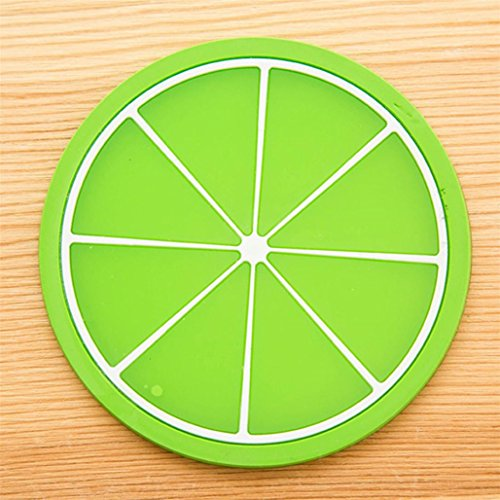 Fruit Coaster Colorful Silicone Cup Drinks Holder Mat Tableware Placemat ,Tuscom (Green)