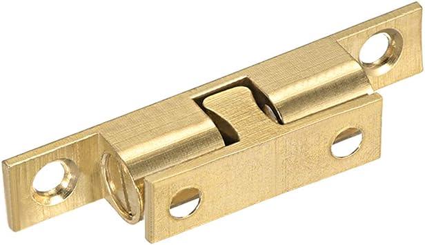 Cabinet Door Closet Brass Double Ball Catch Tension Latch 60mmL Copper Tone 2Pcs