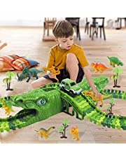 QINGLOU Dinosaur Track Toys Set 153 Pcs, Kids Dinosaur Car Race Track Toy Set, Safety Track Playset, Best Christmas Toy for Kids Boys Girls Ages 3 4 5 6 7Years Old and Up Suitable