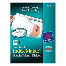 Avery Index Maker Double-Column Clear Label Dividers, 24 Tabs per Set, 1 Set per Pack (13151)