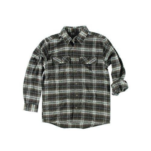 Field & Stream Mens Classic Plaid Flannel Shirt (Large Tall, Brown Windowpane)