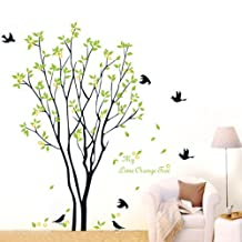 Lime Orange Tree Falling Leaves Birds Wall Sticker Decal