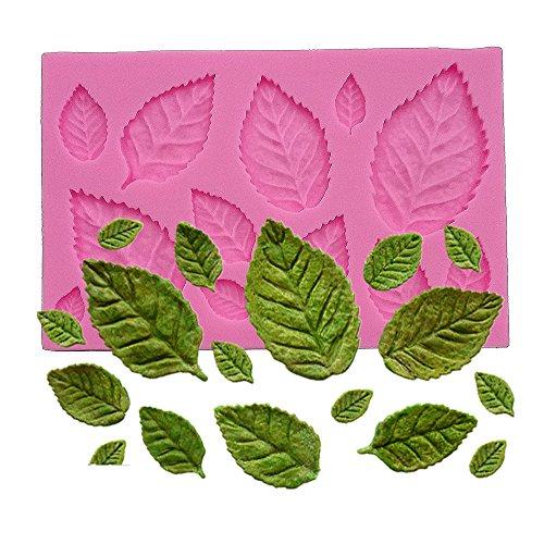 Wocuz Mini Rose Leaves Silicone Mold Fondant Mold Cake Border Cupcake Silicone Lace Mat Mold Decoration Tool, 3.9