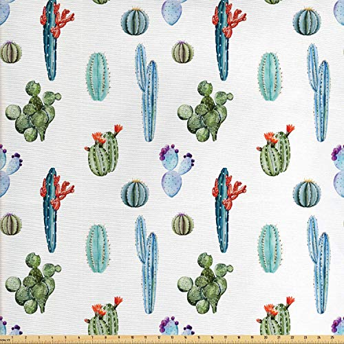 Ambesonne Cactus Fabric by The Yard, Watercolor Cactus Plant Image Desert Hot Mexican South Nature Floral Image Print, Decorative Fabric for Upholstery and Home Accents, 3 Yards, Blue and Green