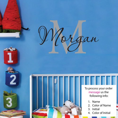 Newsee Decals Morgan Wall Decal Childrens Personalized Name - Childrens Wall Art - Boys Name Wall Decal - Monogram - Nursery Decor