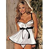 AIDELAI sexy clothes Sexy Lingerie Temptation Conjoined Backless Transparent Lace Nightclub Sauna Sexy Lingerie ( Color : White , Size : XL )