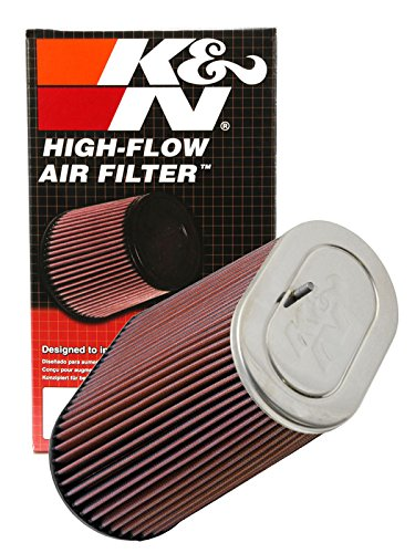 K&N RF-1012 Universal Clamp-On Air Filter: Oval Straight; 3.125 in (79 mm) Flange ID; 9 in (229 mm) Height; 8.75 in x 5 in (222 mm x 127 mm) Base; 6.25 in x 4 in (159 mm x 102 mm) Top K&N Engineering