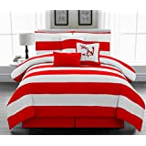 Legacy Decor 7pc. California King Size Nautical Themed Comforter set, Red and White Striped, Microfiber