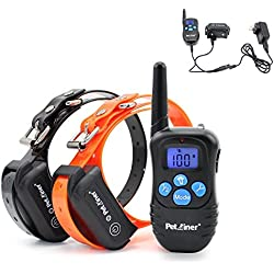 GREAT 4 IN 1 RECHARGEABLE WATERPROOF DOG TRAINING DOG SHOCK COLLAR 100 LVS SHOCK AND VIBRATION ( NEWLY UPGRADED BLUE BACKLIGHT REMOTE TRANSMITTER ) EASY TO USE DESIGN AND OPERATION