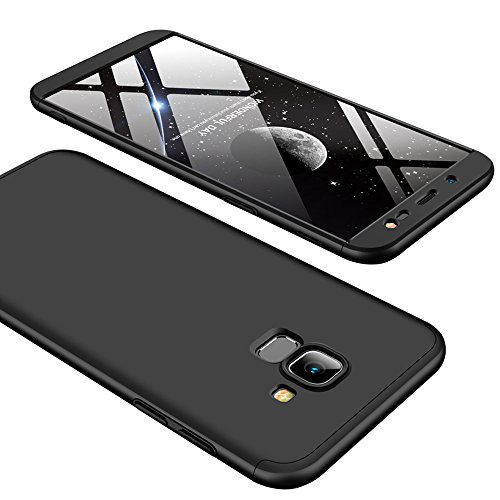 Galaxy J6 2018 Case, Ranyi [Full Body 3 Piece Cover] [Slim & Thin Fit Tightly] [360 Degree Protection] Premium Hybrid Bumper 3 in 1 Electroplated Hard Case for Samsung Galaxy J6 (2018), black