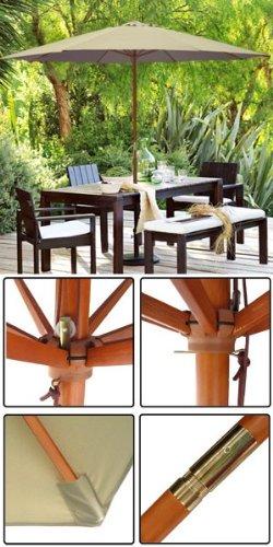 Cheap 13 ft Wood Patio Outdoor Furniture Umbrella Khaki