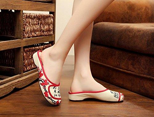 WHH Zapatos bordados, lenguado de tendón, estilo étnico, flip flop femenino, moda, cómodo, sandalias beige