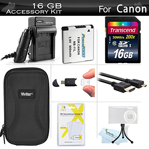 16GB Accessories Kit for Canon PowerShot ELPH 340 HS, ELPH 360 HS Digital Camera Includes 16GB High Speed SD Memory Card + Extended Replacement NB-11L Battery + AC/DC Travel Charger + Case + More