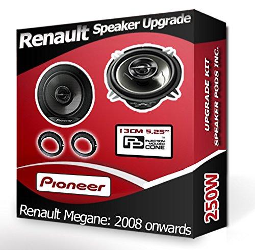 Renault Megane III Front Door Speakers Pioneer car speakers + adapter pods 250W