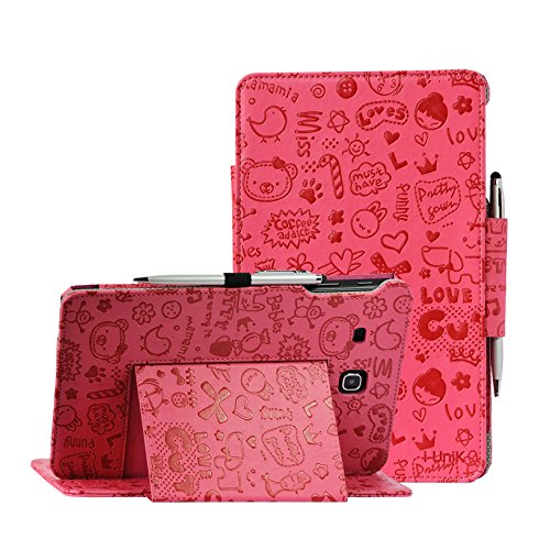 i-UniK Samsung Galaxy TAB E 8.0 inch Compatible SM-T377A/P/R/T/V Verizon/Sprint/US Cellular/AT&T/T-Mobile case by i-UniK Slim Folio Case [Bonus Stylus] (Cute Pink)