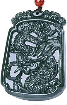 WanTo Colgante de nefrita HETIAN de Color Verde Oscuro Natural Dargon Zodiac Dragon Pendant Necklace Jade Dragon and Phoenix Pendiente para Hombre, Dragon
