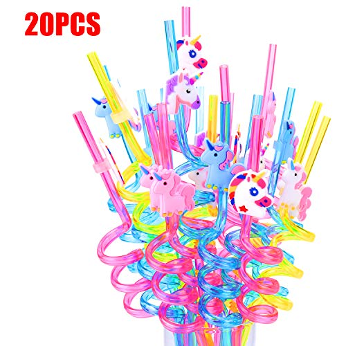 20PCS Unicorn Party Favors Reusable Straws | Perfect for Rainbow Unicorn Birthday Party Supplies Goodie Bags Gifts for Kids Girls