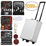 Yaheetech Sturdy 1099pcs Tool Box with Tools and Wheels Aluminium tool Chest Box Household Tool Kit Set Case Mechanics Kit Box Organizer