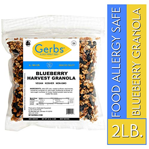 Gerbs Dried Blueberry Granola, 2 LBS - Top 14 Food Allergy Free & NON GMO - Unsulfured & Preservative Free - Made in Rhode Island