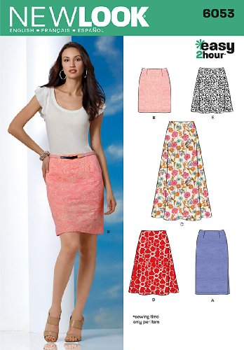 Simplicity Creative Group Inc - Patterns New Look 6053 Misses' Skirts Sewing Pattern, Size A (8-10-12-14-16-18)