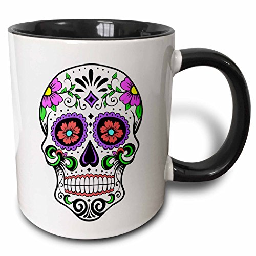 3dRose mug_186236_4 Sugar Skull, Pink Two