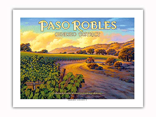 Pacifica Island Art - Paso Robles - Geneseo District - Central Coast AVA Vineyards - California Wine Country Art by Kerne Erickson - Premium 290gsm Giclée Art Print 18in x 24in