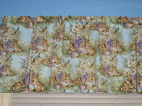 Garden Bunny Floral Turquoise Handmade Cotton Window Curtain Valance