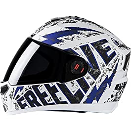 Steelbird Matt Finish Plain Visor Ashtray Helmet , 580 mm, White and Blue