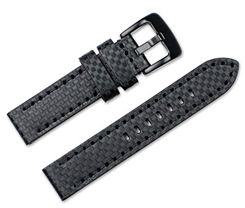 Black Carbon Fiber Watch Band - 20mm Replacement Leather Watch Band - Badass Carbon Fiber - Black Watch Strap