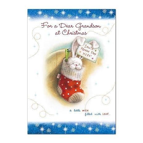 Amazon christmas card ph3238 grandson cute christmas bunny christmas card ph3238 grandson cute christmas bunny flittered finish m4hsunfo