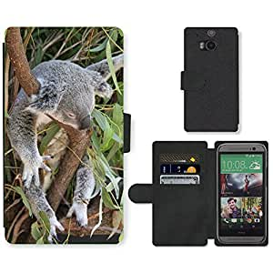 Hot Style Cell Phone Card Slot PU Leather Wallet Case // M00112140 Koala Phascolarctos Cinereus Animal // HTC One M8