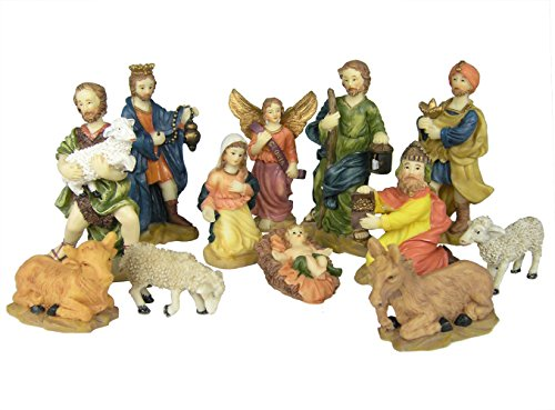Nativity Figurine Set - Pack of 12 Hand Painted Polystone Figurines - Up To 4-Inch Tall - Manger Scene Accessories – Stable Animals (Nativity Small Stable)