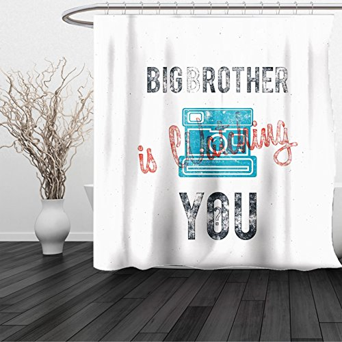 Nickel Geneva Towel (HAIXIA Shower Curtain Vintage Half Toned Big Brother Quote with Old-Fashion Analogue Camera Icon Web Print Blue Grey)