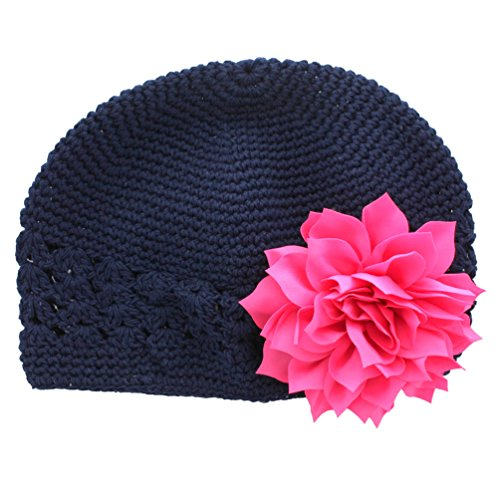 My Lello Little Girl's Crochet Beanie Hat with Flower One Size Navy/Hot Pink -