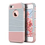 iPhone 5S Case, iPhone 5 Case,iPhone SE Case, ULAK Slim Fit Protection Case Shockproof Hard Rugged Ultra Protective Back Rubber Cover with Dual Layer Impact Protection(Minimal Rose Gold Stripes)